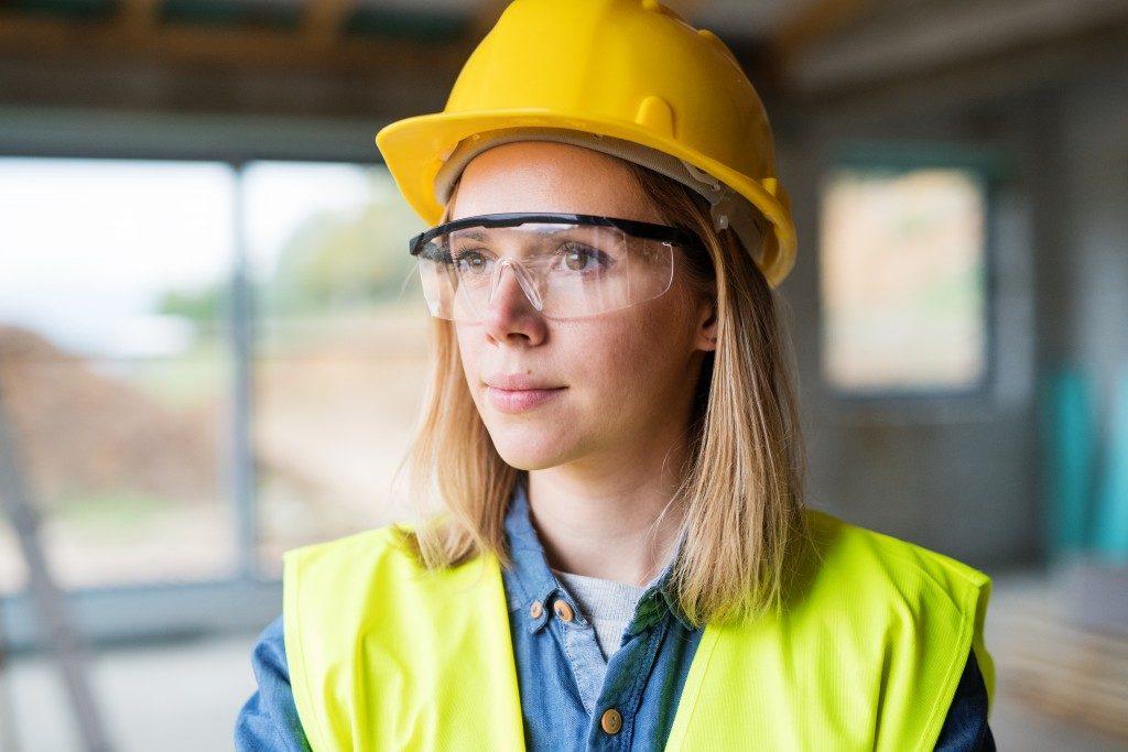 Woman wearing safety gear