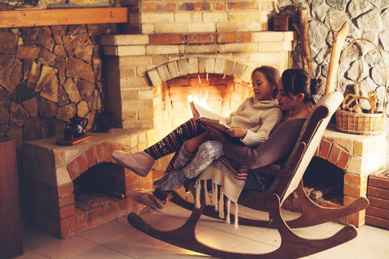 seating in front of a fireplace