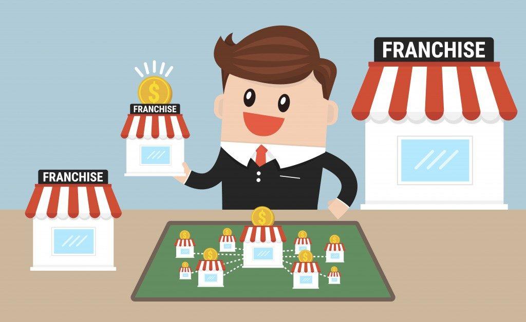 Businessman want to expand his business, franchise concept. business concept. flat design