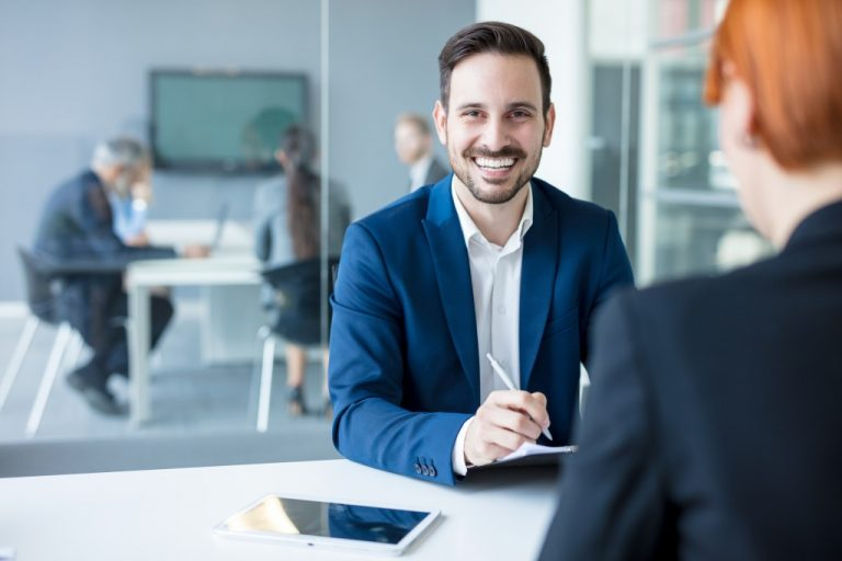 man interviewing someone
