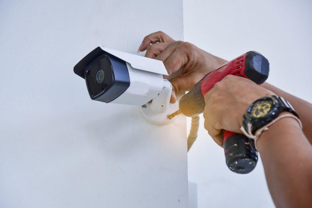CCTV camera being installed