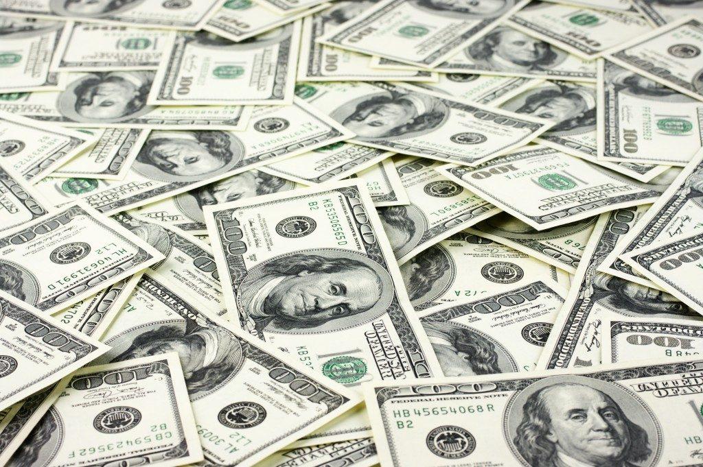 paper bills scattered