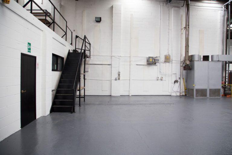 Mezzanine floor in an empty warehouse