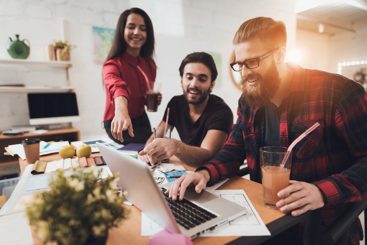team designing a website