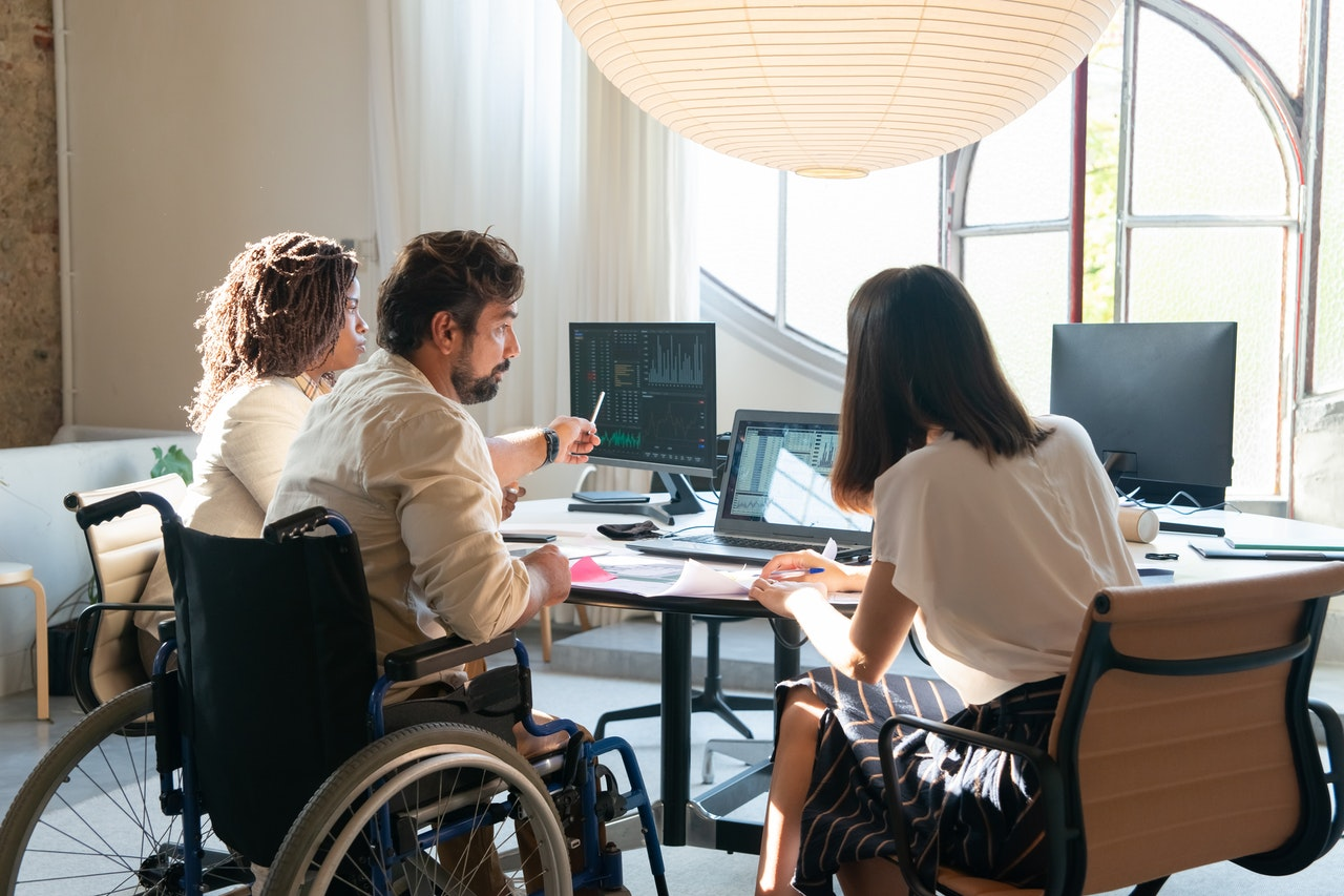 disabled employee in a meeting